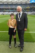 12 August 2018; Joe Killeen, President of the INTO, with Referee Francis Flynn, St Mary's NS Aughnasheelin, Co. Leitrim, before the INTO Cumann na mBunscol GAA Respect Exhibition Go Games at the GAA Football All-Ireland Senior Championship Semi Final match between Monaghan and Tyrone at Croke Park in Dublin. Photo by Piaras Ó Mídheach/Sportsfile