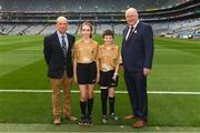 12 August 2018; President of Cumann na mBunscol Liam McGee, left, and Uachtarán Chumann Lúthchleas Gael John Horan with Referee Ellen Keany, St Brigid's NS, Drumcong, Co. Leitrim, and Referee Francis Flynn, St Mary's NS Aughnasheelin, Co. Leitrim, before the INTO Cumann na mBunscol GAA Respect Exhibition Go Games at the GAA Football All-Ireland Senior Championship Semi Final match between Monaghan and Tyrone at Croke Park in Dublin. Photo by Piaras Ó Mídheach/Sportsfile