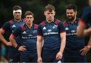 13 August 2018; Shane Daly, Ian Keatley, Alan Tynan, and Kevin O'Byrne during Munster Rugby squad training at the University of Limerick in Limerick. Photo by Diarmuid Greene/Sportsfile
