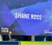 13 August 2018; Minister for Transport, Tourism and Sport, Shane Ross T.D. speaking at the opening ceremony of the World Para Swimming Allianz European Championships at the Sport Ireland National Aquatic Centre in Blanchardstown, Dublin. Photo by Brendan Moran/Sportsfile