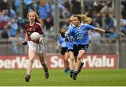 11 August 2018; Nicole McDaid, Scoil Iosagáin, Buncrana, Donegal, representing Galway, in action against Tara McGrath, St Canices Co Ed, Granges Rd, Kilkenny, representing Dublin, during the INTO Cumann na mBunscol GAA Respect Exhibition Go Games at the GAA Football All-Ireland Senior Championship Semi Final match between Dublin and Galway at Croke Park in Dublin.  Photo by Piaras Ó Mídheach/Sportsfile