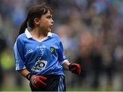 11 August 2018; Meabh Coughlan, St Mary's PS Aughlisnafin, Castlewellan, Down, representing Dublin, during the INTO Cumann na mBunscol GAA Respect Exhibition Go Games at the GAA Football All-Ireland Senior Championship Semi Final match between Dublin and Galway at Croke Park in Dublin.  Photo by Piaras Ó Mídheach/Sportsfile