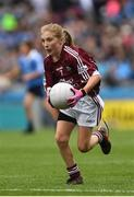 11 August 2018; Emily Breen, Roxborough NS, Ballysheedy, Limerick, representing Galway, during the INTO Cumann na mBunscol GAA Respect Exhibition Go Games at the GAA Football All-Ireland Senior Championship Semi Final match between Dublin and Galway at Croke Park in Dublin.  Photo by Piaras Ó Mídheach/Sportsfile