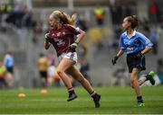 11 August 2018; Emer McEntee, Gowna NS, Gowna, Cavan, representing Galway, and Lea Carey, St. Mary's NS, Sandyford, Dublin, during the INTO Cumann na mBunscol GAA Respect Exhibition Go Games at the GAA Football All-Ireland Senior Championship Semi Final match between Dublin and Galway at Croke Park in Dublin.  Photo by Piaras Ó Mídheach/Sportsfile