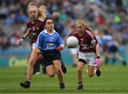11 August 2018; Emily Breen, Roxborough NS, Ballysheedy, Limerick, representing Galway, in action against Meabh Coughlan, St Mary's PS Aughlisnafin, Castlewellan, Down, representing Dublin, supported by Emer McEntee, Gowna NS, Gowna, Cavan, representing Galway, left, during the INTO Cumann na mBunscol GAA Respect Exhibition Go Games at the GAA Football All-Ireland Senior Championship Semi Final match between Dublin and Galway at Croke Park in Dublin.  Photo by Piaras Ó Mídheach/Sportsfile