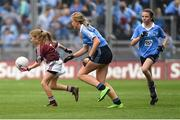 11 August 2018; Emily Breen, Roxborough NS, Ballysheedy, Limerick, representing Galway, in action against Tara Cleary Killeigh NS, Killeigh, Offaly, representing Dublin, centre, and Tara McGrath, St Canices Co Ed, Granges Rd, Kilkenny, representing Dublin, during the INTO Cumann na mBunscol GAA Respect Exhibition Go Games at the GAA Football All-Ireland Senior Championship Semi Final match between Dublin and Galway at Croke Park in Dublin.  Photo by Piaras Ó Mídheach/Sportsfile