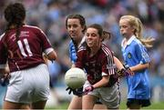 11 August 2018; Muireann Rahilly, Scartaglen NS, Killarney, Kerry, representing Galway, during the INTO Cumann na mBunscol GAA Respect Exhibition Go Games at the GAA Football All-Ireland Senior Championship Semi Final match between Dublin and Galway at Croke Park in Dublin.  Photo by Piaras Ó Mídheach/Sportsfile