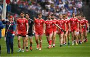 12 August 2018; The Tyrome captain Mattie Donnelly leads his team in the pre match parade before the GAA Football All-Ireland Senior Championship semi-final match between Monaghan and Tyrone at Croke Park in Dublin. Photo by Ray McManus/Sportsfile