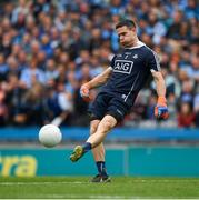11 August 2018; Dublin captain Stephen Cluxton kicks out the ball during the GAA Football All-Ireland Senior Championship semi-final match between Dublin and Galway at Croke Park in Dublin.  Photo by Ray McManus/Sportsfile