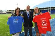 14 August 2018; After a public tender process, Leinster Rugby this morning confirmed that MS Ireland and the Down Syndrome Centre have been selected as the two exclusive charity partners for the province for the next two seasons. To celebrate the announcement Leo Cullen invited both charities to a Leinster training session in Energia Park where they met the staff and the players afterwards. Both charities were also presented with ten match packages each to an away Guinness PRO14 game by Leinster Rugby travel partners JWT, to include flights with the team, accommodation and match tickets which are be used by the charities for their benefit. Pictured is Leinster Rugby President Lorcan Balfe with Sharon Dagg, CEO, Down Syndrome Centre, and Ava Battles, CEO, MS Ireland. Further information on both charities can be found at www.ms-society.ie and www.downsyndromecentre.ie. Photo by Ramsey Cardy/Sportsfile