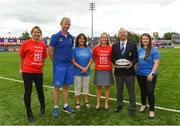 14 August 2018; After a public tender process, Leinster Rugby this morning confirmed that MS Ireland and the Down Syndrome Centre have been selected as the two exclusive charity partners for the province for the next two seasons. To celebrate the announcement Leo Cullen invited both charities to a Leinster training session in Energia Park where they met the staff and the players afterwards. Both charities were also presented with ten match packages each to an away Guinness PRO14 game by Leinster Rugby travel partners JWT, to include flights with the team, accommodation and match tickets which are be used by the charities for their benefit. Pictured are, from left, Caitriona Hughes, Fundraising Manager, MS Ireland, Leinster head coach Leo Cullen, Sharon Dagg, CEO, Down Syndrome Centre, Ava Battles, CEO, MS Ireland, Leinster Rugby President Lorcan Balfe and Emma Murphy, Fundraising Manager, Down Syndrome Centre. Further information on both charities can be found at www.ms-society.ie and www.downsyndromecentre.ie. Photo by Ramsey Cardy/Sportsfile