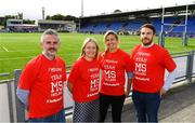14 August 2018; After a public tender process, Leinster Rugby this morning confirmed that MS Ireland and the Down Syndrome Centre have been selected as the two exclusive charity partners for the province for the next two seasons. To celebrate the announcement Leo Cullen invited both charities to a Leinster training session in Energia Park where they met the staff and the players afterwards. Both charities were also presented with ten match packages each to an away Guinness PRO14 game by Leinster Rugby travel partners JWT, to include flights with the team, accommodation and match tickets which are be used by the charities for their benefit. Pictured are representatives from MS Ireland, from left, Paul Halpin, Senior Fundraising Executive, Ava Battles, CEO, Caitriona Hughes, Fundraising Manager, and Thomas McCarthy, Communications Manager. Further information on both charities can be found at www.ms-society.ie and www.downsyndromecentre.ie. Photo by Ramsey Cardy/Sportsfile