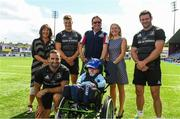 14 August 2018; After a public tender process, Leinster Rugby this morning confirmed that MS Ireland and the Down Syndrome Centre have been selected as the two exclusive charity partners for the province for the next two seasons. To celebrate the announcement Leo Cullen invited both charities to a Leinster training session in Energia Park where they met the staff and the players afterwards. Both charities were also presented with ten match packages each to an away Guinness PRO14 game by Leinster Rugby travel partners JWT, to include flights with the team, accommodation and match tickets which are be used by the charities for their benefit. Pictured is Sharon Dagg, CEO, Down Syndrome Centre, and Ava Battles, CEO, MS Ireland, Patrick Crawford and 5 year old Maximus Murray, with Leinster players, from left, Dave Kearney, Josh van der Flier, Fergus McFadden. Further information on both charities can be found at www.ms-society.ie and www.downsyndromecentre.ie. Photo by Ramsey Cardy/Sportsfile