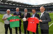 14 August 2018; Attendees at the launch of the highly anticipated 2018 Croke Park Charity Challenge, organised by Alan Kerins in partnership with Self Help Africa are, from left, Ronan Scully, Self Help Africa, Uachtarán Chumann Lúthchleas Gael John Horan, Eugene Dalton, CEO Corrib Oil, organiser Alan Kerins, and Peter McDevitt, CFO, Self Help Africa. The event will see people from the world of business,sport, media and entertainment  partake in a charity sporting spectacle on the 23rd October to raise funds for Self Help Africa. Alan Kerins was joined by Uachtarán Chumann Lúthchleas Gael John Horan, Peter McDevitt, CFO, Self Help Africa, former Kerry footballer Tomás O'Sé, former Cork hurler and footballer Seán Óg Ó hAilpín, former Galway hurler Cyril Donnellan, Mayo footballer Jason Doherty, and Rory O'Connor of Rory's Stories at today's launch. Further information available at: https://selfhelpafrica.org/ie/charity-croke-park-challenge/. Croke Park, Dublin. Photo by Piaras Ó Mídheach/Sportsfile
