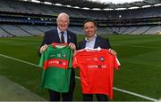 14 August 2018; Uachtarán Chumann Lúthchleas Gael John Horan and Alan Kerins at the launch of the highly anticipated 2018 Croke Park Charity Challenge, organised by Alan Kerins in partnership with Self Help Africa. The event will see people from the world of business,sport, media and entertainment  partake in a charity sporting spectacle on the 23rd October to raise funds for Self Help Africa. Alan Kerins was joined by Uachtarán Chumann Lúthchleas Gael John Horan, Peter McDevitt, CFO, Self Help Africa, former Kerry footballer Tomás O'Sé, former Cork hurler and footballer Seán Óg Ó hAilpín, former Galway hurler Cyril Donnellan, Mayo footballer Jason Doherty, and Rory O'Connor of Rory's Stories at today's launch. Further information available at: https://selfhelpafrica.org/ie/charity-croke-park-challenge/. Croke Park, Dublin. Photo by Piaras Ó Mídheach/Sportsfile