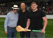 14 August 2018; Race horse owner Rich Ricci, with, from left, former Republic of Ireland International Paul McGrath and Leinster and Ireland rugby player Tadhg Furlong, at the seventh annual Hurling for Cancer Research game, a celebrity hurling match in aid of the Irish Cancer Society in St Conleth's Park, Newbridge. The event, organised by legendary racehorse trainer Jim Bolger and National Hunt jockey Davy Russell, has raised €700,000 to date to fund the Irish Cancer Society's innovative cancer research projects. Photo by Piaras Ó Mídheach/Sportsfile