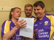 14 August 2018; Jim Bolger's Stars players, from left, Ollie Canning, former Galway hurler, JJ Delaney, former Kilkenny hurler, and Michael Duignan, former Offaly hurler, in conversation before the seventh annual Hurling for Cancer Research game, a celebrity hurling match in aid of the Irish Cancer Society at St Conleth's Park, in Newbridge. The event, organised by legendary racehorse trainer Jim Bolger and National Hunt jockey Davy Russell, has raised €700,000 to date to fund the Irish Cancer Society's innovative cancer research projects. Photo by Piaras Ó Mídheach/Sportsfile