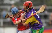 14 August 2018; John Mulhall, former Kilkenny hurler, representing Jim Bolger's Stars, right, in action against Shane 'Dusty' Foley, jockey, representing Davy Russell's Best, during the seventh annual Hurling for Cancer Research game, a celebrity hurling match in aid of the Irish Cancer Society at St Conleth's Park, in Newbridge. The event, organised by legendary racehorse trainer Jim Bolger and National Hunt jockey Davy Russell, has raised €700,000 to date to fund the Irish Cancer Society's innovative cancer research projects. The final score was: Davy Russell's Stars 5-20 to Jim Bolger's Best: 6-12. Photo by Piaras Ó Mídheach/Sportsfile