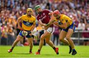 5 August 2018; Peter Duggan of Clare in action against Niall Burke of Galway during the GAA Hurling All-Ireland Senior Championship semi-final replay match between Galway and Clare at Semple Stadium in Thurles, Co Tipperary. Photo by Brendan Moran/Sportsfile