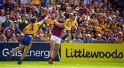 5 August 2018; Niall Burke of Galway in action against Jack Browne of Clare during the GAA Hurling All-Ireland Senior Championship semi-final replay match between Galway and Clare at Semple Stadium in Thurles, Co Tipperary. Photo by Brendan Moran/Sportsfile