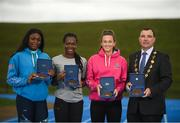 15 August 2018; Ireland's World Championships Relay Heroes Ciara Neville, Gina Akpe Moses and Patience Jumbo Gula at the launch Aldi Community Games' National Festival. Pictured at the launch are, from left, Patience Jumbo Gula, Gina Akpe Moses and Ciara Neville with Limerick Lord Mayor James Collins at the new state of the art athletics track in UL, Limerick. Photo by Eóin Noonan/Sportsfile