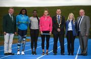 15 August 2018; Ireland's World Championships Relay Heroes Ciara Neville, Gina Akpe Moses and Patience Jumbo Gula at the launch Aldi Community Games' National Festival. Pictured at the lauch are, from left, Micheal Sheehan director of community games, Patience Jumbo Gula, Gina Akpe Moses and Ciara Neville, Limerick Lord Mayor James Collins, Karen Moynihan, store manager at ALDI in Newcastle west and John Bynre CEO comminuty games at the new state of the art athletics track in UL, Limerick. Photo by Eóin Noonan/Sportsfile