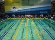 15 August 2018; (EDITOR'S NOTE; A variable planed lens was used in the creation of this image) A general view of athletes as they warm-up prior to the morning heats session during day three of the World Para Swimming Allianz European Championships at the Sport Ireland National Aquatic Centre in Blanchardstown, Dublin. Photo by Seb Daly/Sportsfile