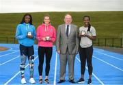 15 August 2018; Ireland's World Championships Relay Heroes Ciara Neville, Gina Akpe Moses and Patience Jumbo Gula at the launch Aldi Community Games' National Festival. Pictured at the lauch are, from left, Patience Jumbo Gula, Ciara Neville, John Bynre CEO comminuty games and Gina Akpe Moses at the new state of the art athletics track in UL, Limerick. Photo by Eóin Noonan/Sportsfile