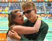 15 August 2018; Swimmer Sean O'Riordan of Ireland is congratulated by his mother Maria after setting a new personal best during his morning heat, and following his excellent Leaving Cert results, during day three of the World Para Swimming Allianz European Championships at the Sport Ireland National Aquatic Centre in Blanchardstown, Dublin. Photo by Seb Daly/Sportsfile