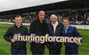 14 August 2018; Attendees, from left, Pat Smullen, 9-time Champion Flat Jockey, Paul McGrath, former Republic of Ireland International, Olympic gold medallist Ronnie Delany, and Johnny Murtagh, Irish flat racing jockey, before the seventh annual Hurling for Cancer Research game, a celebrity hurling match in aid of the Irish Cancer Society at St Conleth's Park, in Newbridge. The event, organised by legendary racehorse trainer Jim Bolger and National Hunt jockey Davy Russell, has raised €700,000 to date to fund the Irish Cancer Society's innovative cancer research projects. The final score was: Davy Russell's Best 5-20 to Jim Bolger's Stars: 6-12. Photo by Piaras Ó Mídheach/Sportsfile