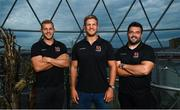 15 August 2018; Will Addison, left, Chris Henry, centre, and Marty Moore during an Ulster Rugby Media Event at Victoria Square in Belfast. Photo by Ramsey Cardy/Sportsfile