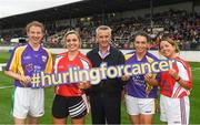 14 August 2018; Jim Bolger with, from left, Patrica Jackman, Anna Geary, Ursula Jacob, and Christine Crummey, before the seventh annual Hurling for Cancer Research game, a celebrity hurling match in aid of the Irish Cancer Society at St Conleth's Park, in Newbridge. The event, organised by legendary racehorse trainer Jim Bolger and National Hunt jockey Davy Russell, has raised €700,000 to date to fund the Irish Cancer Society's innovative cancer research projects. The final score was: Davy Russell's Best 5-20 to Jim Bolger's Stars: 6-12. Photo by Piaras Ó Mídheach/Sportsfile