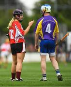 14 August 2018; Anna Geary, former Cork camogie player, representing Davy Russell's Best, in conversation with Ollie Canning, former Galway hurler, representing Jim Bolger's Stars, during the seventh annual Hurling for Cancer Research game, a celebrity hurling match in aid of the Irish Cancer Society at St Conleth's Park, in Newbridge. The event, organised by legendary racehorse trainer Jim Bolger and National Hunt jockey Davy Russell, has raised €700,000 to date to fund the Irish Cancer Society's innovative cancer research projects. The final score was: Davy Russell's Best 5-20 to Jim Bolger's Stars: 6-12. Photo by Piaras Ó Mídheach/Sportsfile