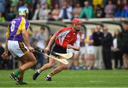 14 August 2018; Mikey Fogarty, jockey, representing Davy Russell's Best, right, in action against Jackie Tyrell, former Kilkenny hurler, Jim Bolger's Stars, during the seventh annual Hurling for Cancer Research game, a celebrity hurling match in aid of the Irish Cancer Society at St Conleth's Park, in Newbridge. The event, organised by legendary racehorse trainer Jim Bolger and National Hunt jockey Davy Russell, has raised €700,000 to date to fund the Irish Cancer Society's innovative cancer research projects. The final score was: Davy Russell's Best 5-20 to Jim Bolger's Stars: 6-12. Photo by Piaras Ó Mídheach/Sportsfile