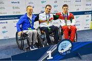 15 August 2018; Medallists in the Men's 100m Breaststroke SB5 final event, from left, silver medallist Marco Maria Dolfin of Italy, gold medallist Antoni Ponce Bertan of Spain, and bronze medallist Ivo Rocha of Portugal, during day three of the World Para Swimming Allianz European Championships at the Sport Ireland National Aquatic Centre in Blanchardstown, Dublin.  Photo by Seb Daly/Sportsfile