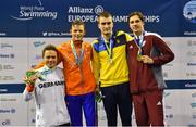 15 August 2018; Medallists in the Men's 100m Breaststroke SB7 final event, from left, silver medallist Torben Schmidtke of Germany, gold medallist Simon Boer of Netherlands, joint-bronze medallist Iurii Bozhynskyi of Ukraine and joint-bronze medallist Jurijs Semjonovs of Latvia, during day three of the World Para Swimming Allianz European Championships at the Sport Ireland National Aquatic Centre in Blanchardstown, Dublin.  Photo by Seb Daly/Sportsfile