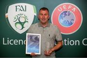 15 August 2018; Alan Reynolds with his certificate during the UEFA Pro Licence Graduation at the Rochestown Park Hotel in Rochestown Rd, Douglas, Co. Cork Photo by Eóin Noonan/Sportsfile