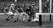 2 September 1973; Mossy Dowling of Limerick scores his side's goal past Kilkenny goalkeeper Noel Skehan. Other players include from left, Fan Larkin, Phil Cullen and Nicky Orr of Kilkenny, Ned Rea of Limerick and Pat Henderson of Kilkenny during the All Ireland Hurling Final match between Kilkenny and Limerick at Croke Park in Dublin. Photo by Connolly Collection/Sportsfile