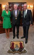 16 August 2018; FAI Chief Executive John Delaney, right, with his partner Emma English and Cllr. Mick Finn, Lord Mayor of Cork, at reception hosted by the Lord Mayor of Cork for a FAI Delegation at City Hall in Cork. Photo by Stephen McCarthy/Sportsfile