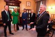 16 August 2018; Cllr. Mick Finn, Lord Mayor of Cork, speaks with John Delaney, CEO, Football Association of Ireland, his partner Emma English, Republic of Ireland Women's National Team manager Colin Bell and FAI President Tony Fitzgerald at a reception hosted by the Lord Mayor of Cork for a FAI Delegation at City Hall in Cork. Photo by Stephen McCarthy/Sportsfile