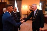 16 August 2018; Cllr. Mick Finn, Lord Mayor of Cork, with Republic of Ireland Women's National Team manager Colin Bell at a reception hosted by the Lord Mayor of Cork for a FAI Delegation at City Hall in Cork. Photo by Stephen McCarthy/Sportsfile