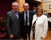 16 August 2018; Republic of Ireland manager Martin O'Neill with Gerardene McNamara, Chairperson of Ballincollig AFC, at a reception hosted by the Lord Mayor of Cork for a FAI Delegation at City Hall in Cork. Photo by Stephen McCarthy/Sportsfile