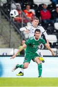 16 August 2018; Andre Helland of Rosenborg in action against Shane Griffin of Cork City during the UEFA Europa League 3rd Qualifying Round Second Leg match between Rosenborg and Cork City at Lerkendal Stadion in Trondheim, Norway. Photo by Jon Olav Nesvold/Sportsfile