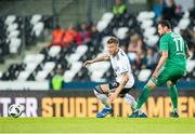 16 August 2018; Niklas Bendtner of Rosenborg in action against Damien Delaney of Cork City during the UEFA Europa League 3rd Qualifying Round Second Leg match between Rosenborg and Cork City at Lerkendal Stadion in Trondheim, Norway. Photo by Jon Olav Nesvold/Sportsfile