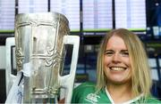 17 August 2018; Claire Monaghan, from Athboy, Co Meath, with the Liam MacCarthy Cup at the GAA Fáilte Abhaile event at Dublin Airport in Dublin. Photo by Piaras Ó Mídheach/Sportsfile