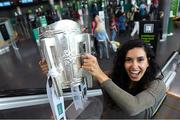 17 August 2018; Mary Saydein, from America, with the Liam MacCarthy Cup at the GAA Fáilte Abhaile event at Dublin Airport in Dublin. Photo by Piaras Ó Mídheach/Sportsfile