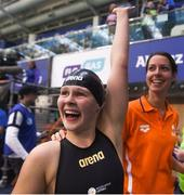 17 August 2018; Liesette Bruinsma of Netherlands celebrates after winning the final of the Women's 200m Individual Medley SM11 event and setting a new world record during day five of the World Para Swimming Allianz European Championships at the Sport Ireland National Aquatic Centre in Blanchardstown, Dublin. Photo by David Fitzgerald/Sportsfile