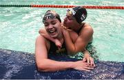 17 August 2018; Lisa Kruger, left, of Netherlands after winning the final of the Women's 100m Butterfly S10 event during day five of the World Para Swimming Allianz European Championships at the Sport Ireland National Aquatic Centre in Blanchardstown, Dublin. Photo by David Fitzgerald/Sportsfile