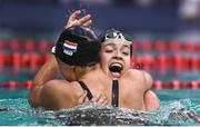 17 August 2018; Lisa Kruger, right, of Netherlands is congratulated by teammate Chantalle Zijderveld of Netherlands after winning the final of the Women's 100m Butterfly S10 event during day five of the World Para Swimming Allianz European Championships at the Sport Ireland National Aquatic Centre in Blanchardstown, Dublin. Photo by David Fitzgerald/Sportsfile