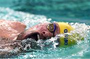 17 August 2018; Mikael Fredriksson of Sweden competes in the final of the Men's 50m Backstroke S3 event during day five of the World Para Swimming Allianz European Championships at the Sport Ireland National Aquatic Centre in Blanchardstown, Dublin. Photo by David Fitzgerald/Sportsfile